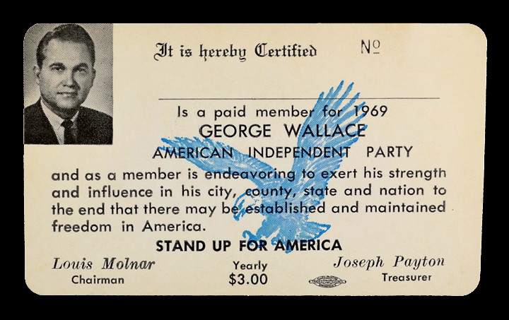 Wallace's 1969 AIP party card, showing annual dues of $3.00 for the organization