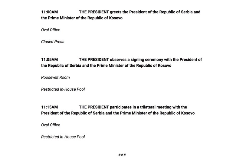 Today's official schedule at the White House