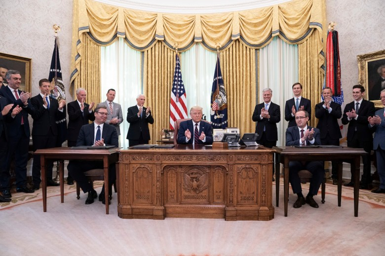President Trump applauds after participating in a signing ceremony with Serbian President Aleksandar Vucic and Kosovo Prime Minister Avdullah Hoti Friday, Sept. 4, 2020, in the Oval Office of the White House. (Official White House Photo by Joyce N. Boghosian)