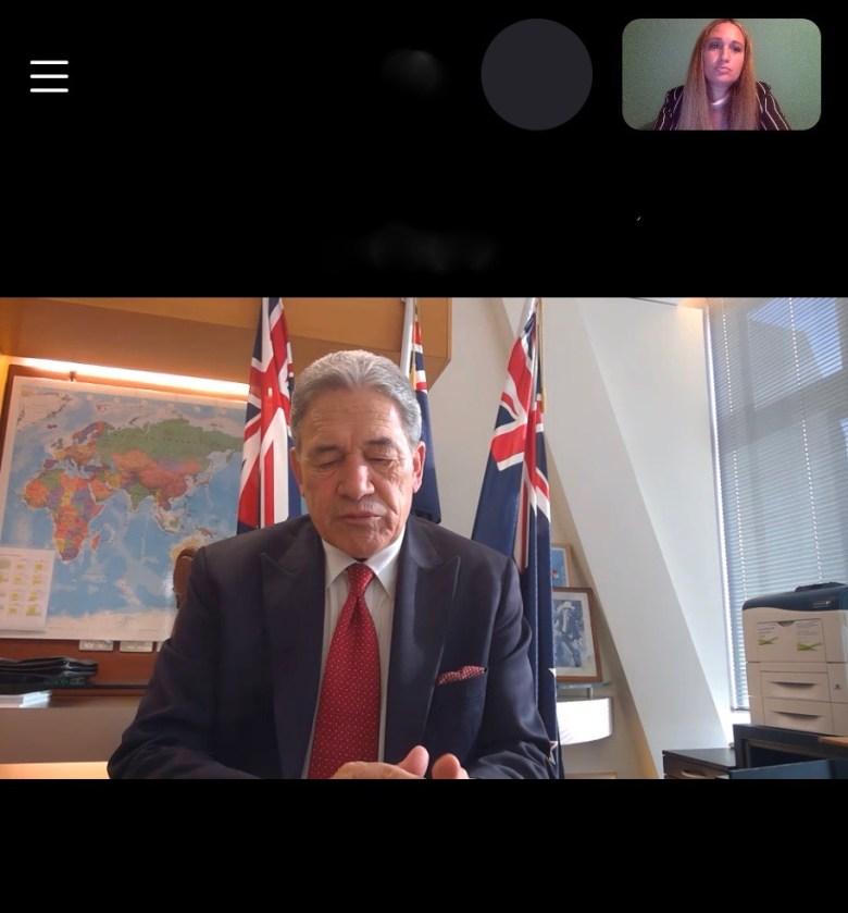The Deputy PM Winston Peters in conversation with Ksenija Pavlovic Mcateer