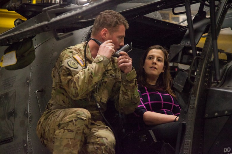 Congresswoman Elise Stefanik, U.S. House NY District 21 member, visited Fort Drum, NY, April 7, 2016. During her visit, she toured the Commissary, Army and Air Force Exchange Services, Wheeler Sack Army Airfield, aerial tour of the training area, lunch with Soldiers, and met with aviators. (U.S. Army photo by Master Sgt. Kap Kim, 10th Mountain Division Public Affairs)