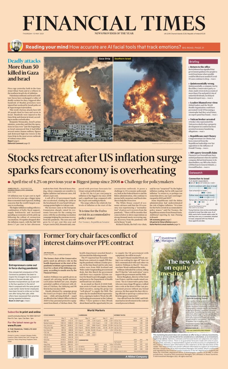 Cover of the Financial Times for Thursday May 13, 2021