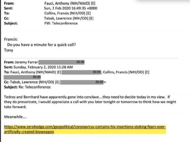 Email from medical researcher Jeremy Farrar to Dr. Fauci in regards to the Zero Hedge article.