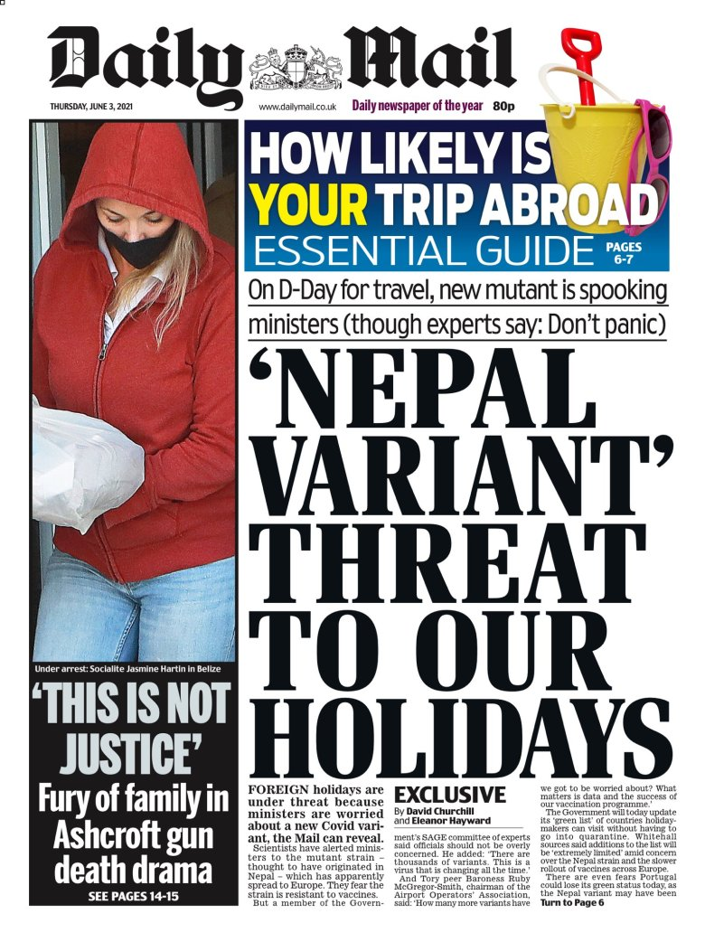 Thursday's Daily Mail