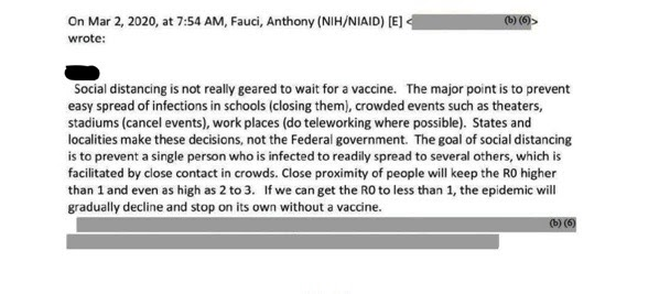 Email from Dr. Fauci regarding whether social distancing could stop COVID-19.