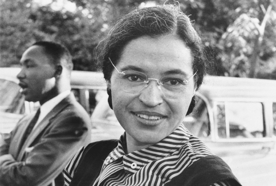 Rosa Parks with King (left), 1955