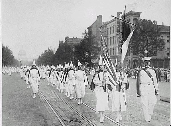 Ku Klux Klan members march down Pennsylvania Avenue in Washington, D.C., in 1928