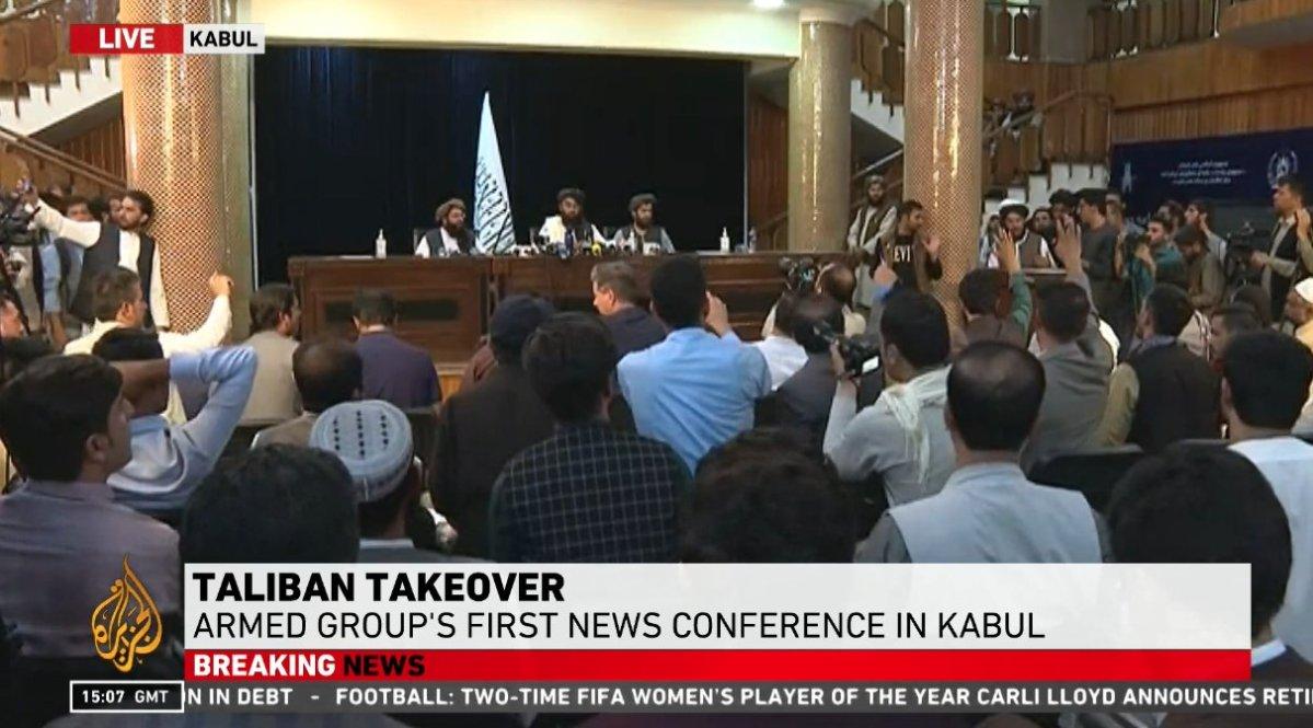 The Taliban hold their first press conference in Kabul. ( Photo: Screenshot ©AlJazeera)