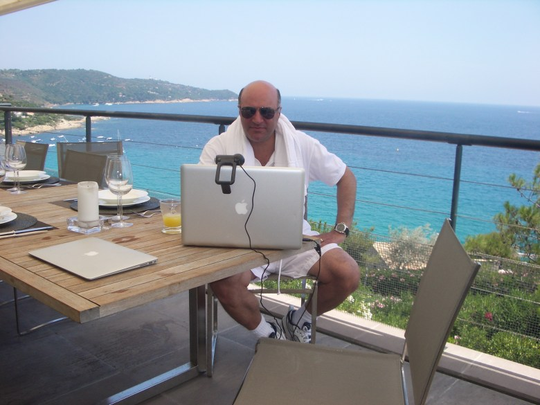 Kevin O'Leary: Advances in mobile technology allow me to broadcast tv from anywhere. Here I'm working with CBC's Heather Hiscox from my balcony in St. Tropez