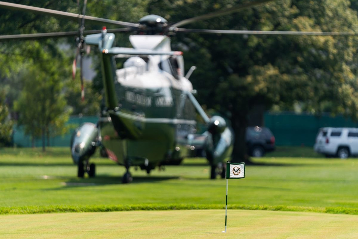 Marine One arrives on the South Lawn of the White House Tuesday, August 10, 2021, following President Joe Biden's trip to Delaware. (Photo by Cameron Smith)