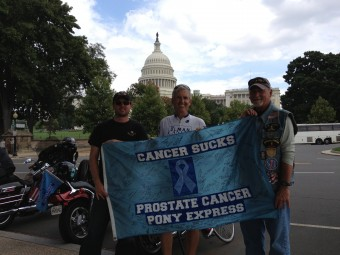 Picture of prostate cancer pony express riders in front of the Capitol in Washington, DC