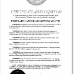 State of Virginia, Prostate Cancer Awareness Proclamation