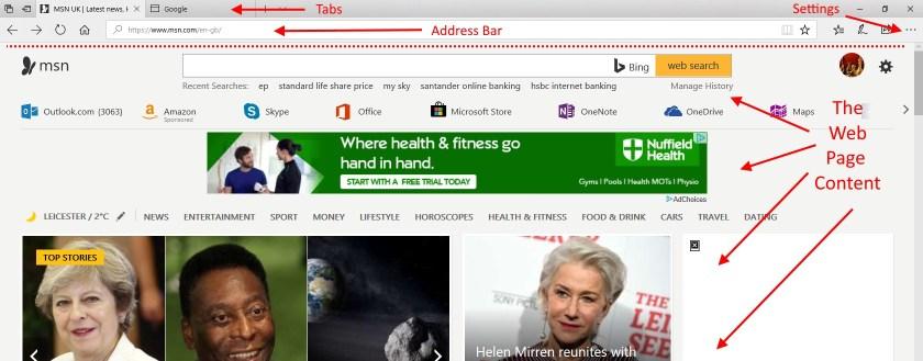 A Web Page (MSN.com) open in MS Edge