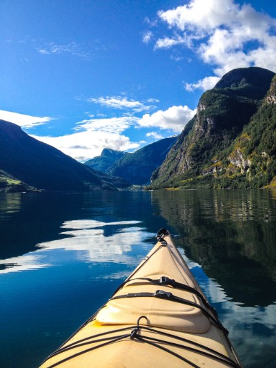Photo 1. The view of Aurlandsfjord from the cockpit of a kayak