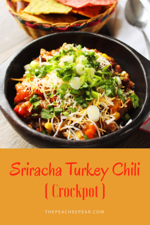 Easy, tasty and healthy turkey chili. Made in the crockpot and spiced with Sriracha. Must add this one to your fall recipes!