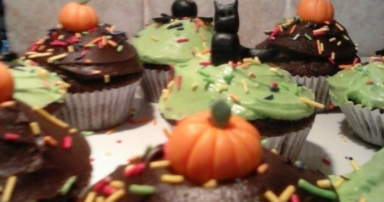Halloween Vegan Chocolate Cherry Cupcakes