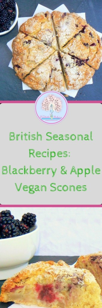 Apple & Blackberry Vegan Scones perfect for #NationalAllotmentWeek #NationalAfternoonTeaWeek! You've heard of self-saucing puddings well these are scones make their own jam! Perfect for using up windfall apples and beautiful blackberries!