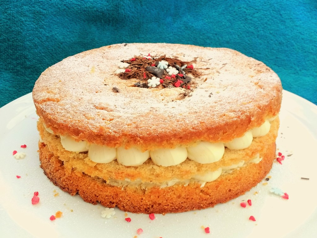 This Vegan Victoria Sponge Cake is super easy to make. A light and fluffy vanilla sponge that is sturdy enough to filled & covered in fondant for special occasions! This recipe makes one 20cm cake which you can slice into 2 or 3 ready for filling with jam & buttercream. You can also easily vary the flavour of this basic sponge recipe by using nut milks or adding coffee, chocolate or citrus zests! Dairyfree & Eggfree too!