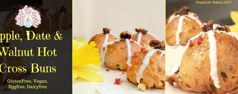 #FreeFromEaster – Apple Date & Walnut Hot Cross Buns (Glutenfree, Vegan & CitrusFree)