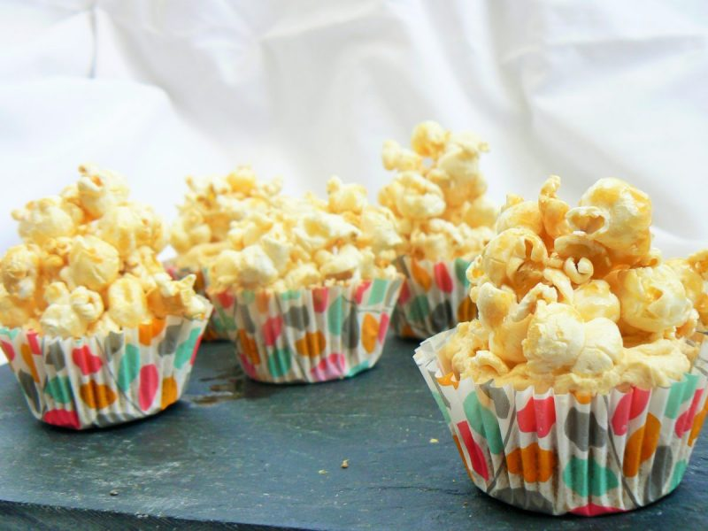 Vegan Salted Caramel Popcorn Cupcakes (Dairyfree, Eggfree). Caramel flavoured cupcake, topped with buttercream & piled high with homemade salty sweet popcorn! So easy to make, but will definitely impress!