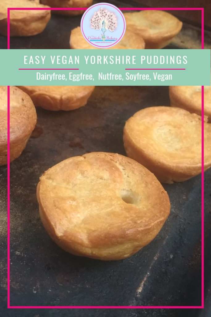 Easy Vegan Yorkshire Puddings, crispy on the outside and beautifully fluffy inside.  The perfect accompaniment to a Sunday Lunch, sturdy enough to hold a bucket full of gravy and just as good stuffed with bubble and squeak the day after! Vegan comfort food at its best! Dairyfree, Eggfree, Soyfree.
