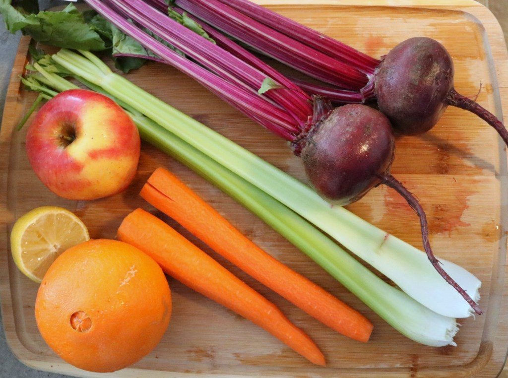 Beet Juice Recipe Ingredients - Beets, Apple, Carrots, Celery, Lemon and Orange