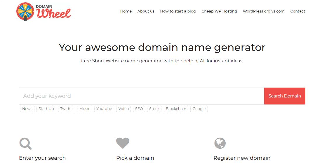 DomainWheel Best Blog Name Generators Good Blog Name Ideas