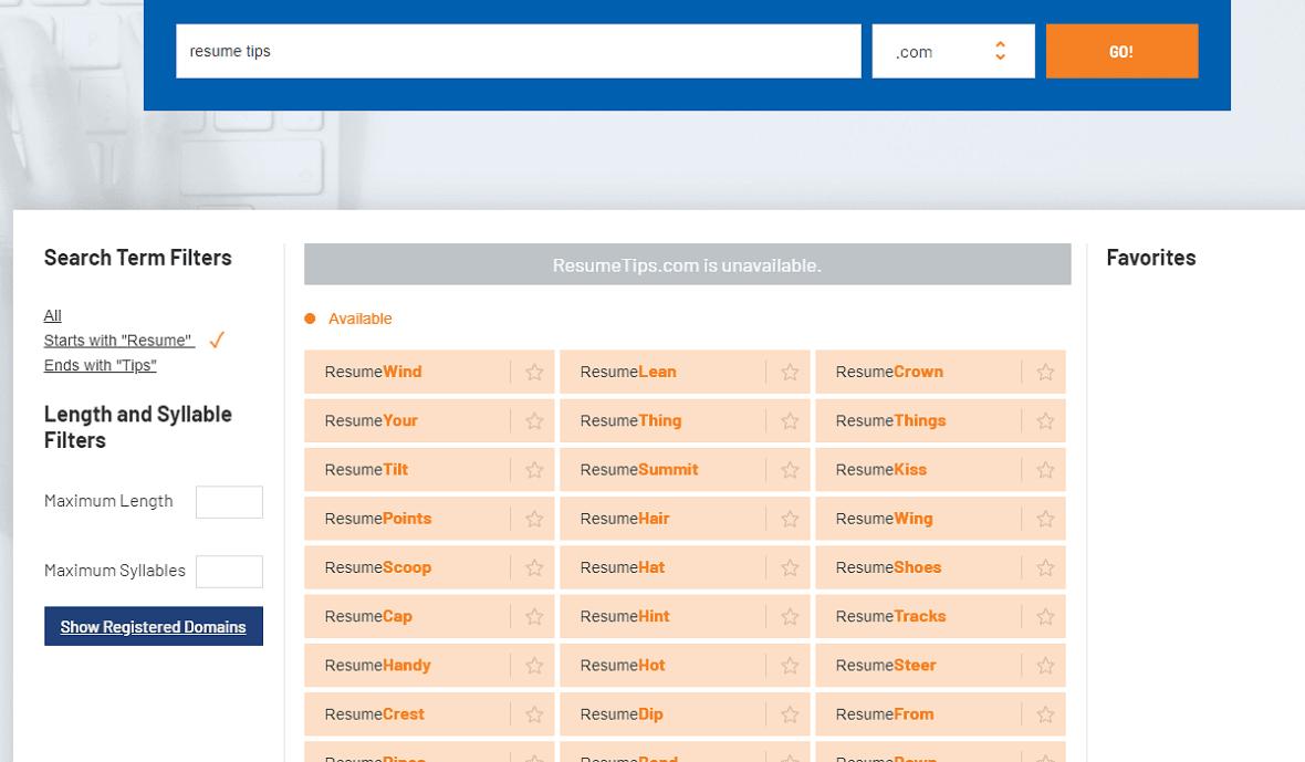 Namebounce blog name generators results