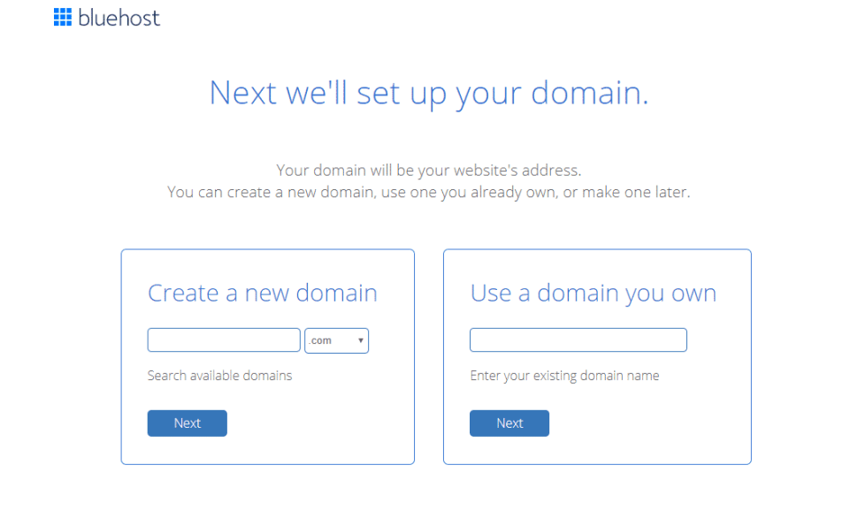how to start a money making blog Bluehost choose a domain