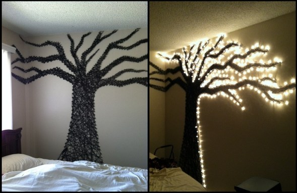 wall tree made out of christmas lights