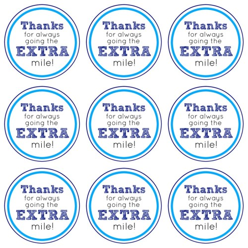 Extra Mile Printable Gift Tags