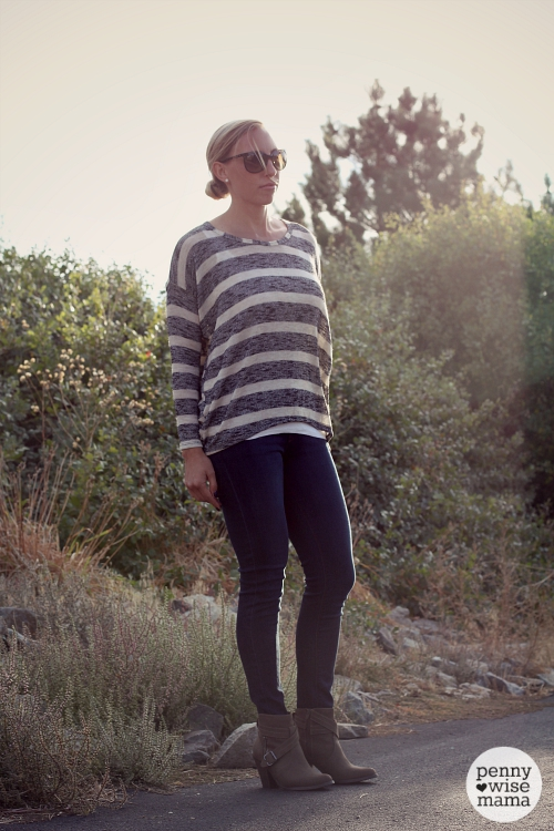 2015 Fall Fashion - loose sweater, skinny jeans & ankle boots