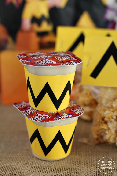 Charlie Brown Pudding Cups + Free Printable