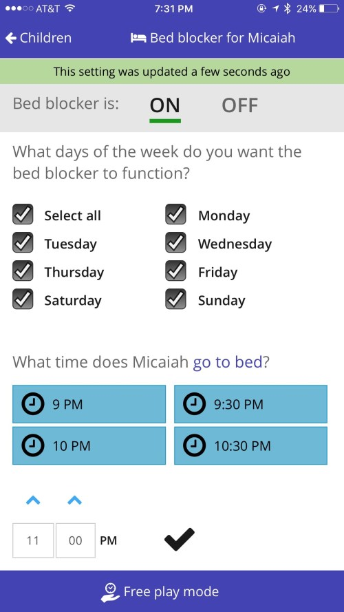 Screen Time Bed Blocker Feature