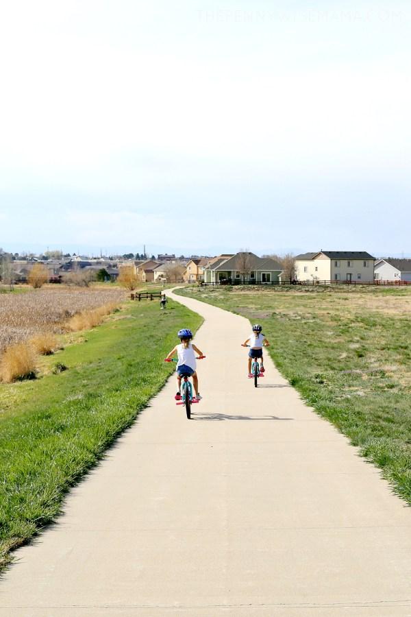 kids enjoying spring with bike ride