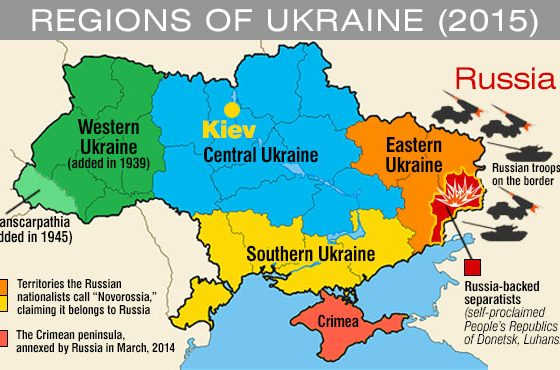 Ukraine map west east fighting