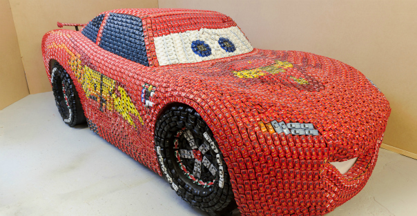 CARS 2: GIANT LIGHTNING MCQUEEN Sculpture Created from1,000's of CARS 2 Toy Cars