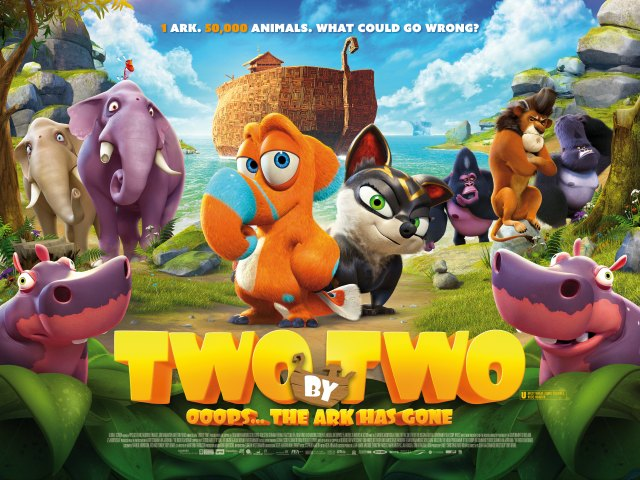 Animals board the Ark in Two by Two trailer