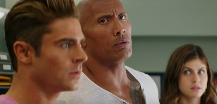 In Baywatch Superbowl TV Spot, The Rock Isn't Watching The Game