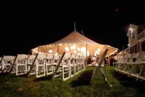 Back yard wedding lighting