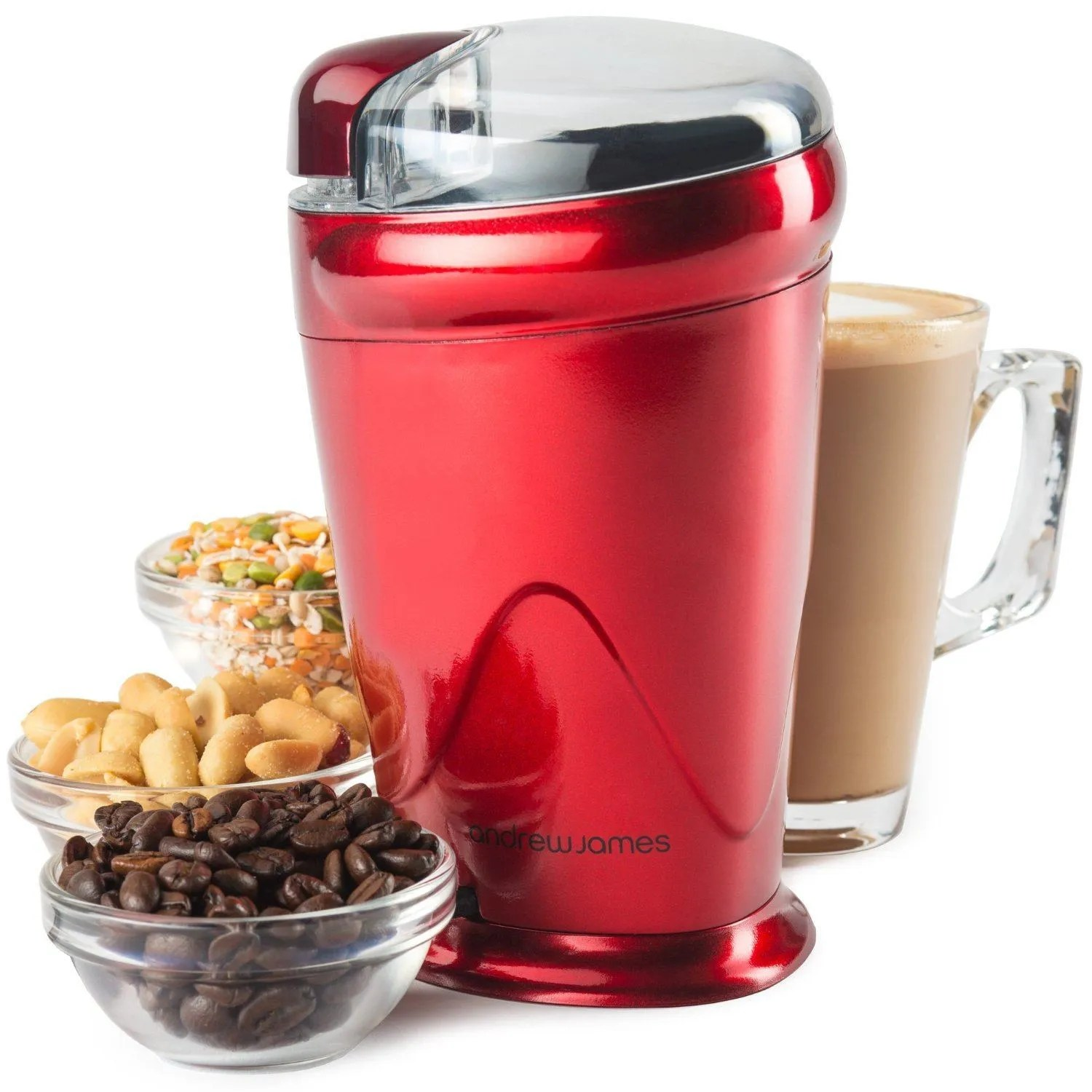 Andrew James Coffee, Nut and Spice Grinder In Red
