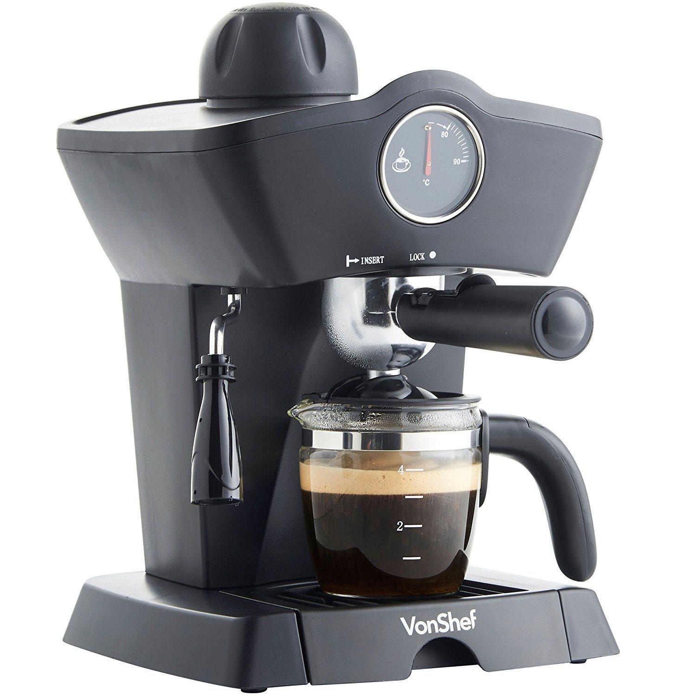 VonShef 4 Bar Espresso Coffee Maker Machine Black