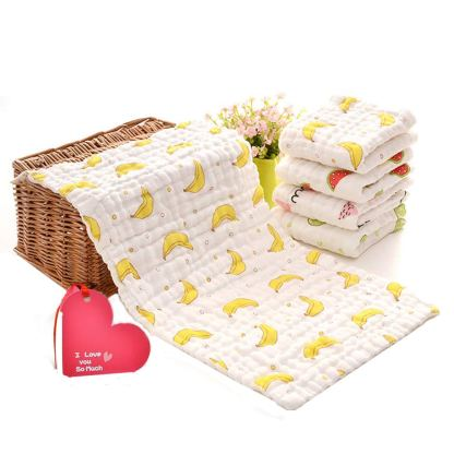 KOROTUS Muslin Baby Burp Cloths Washcloths Face Towels 5-Pack Extra Large 10 X 20 inches 6 Layers Super Absorbent Premium Soft Natural for Sensitive Skin Baby 100% Organic Cotton (5fruits)