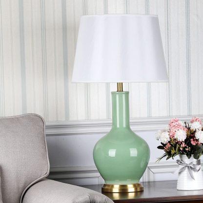 SAROK LED Table Desk Lamp for Bedside Light 220V Luxury Copper Ceramic Decoration For Living Room Bedroom Library Study Office