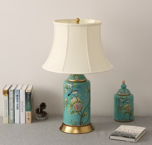 Chinese blue flower bird ceramic large Table Lamps vintage Touch Switch fabric copper base E27 LED lamp for bedside&foyer MF043