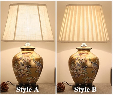 Chinese style flower&bird brown ceramic Table Lamps Touch switch linen lampshade E27 LED lamp for bedside&foyer&tea room MF011