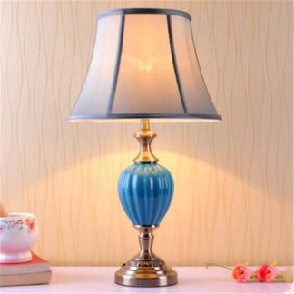 Blue Ceramic Bedside Table Lamp Modern Mediterranean Sea Dimmer Light Foyer Bed Room Corner Porcelain Desk Reading Light 1881