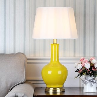 SAROK LED Table Desk Lamp for Bedside Light 220V Luxury Copper Ceramic Decoration For Living Room Bedroom Library Study Office