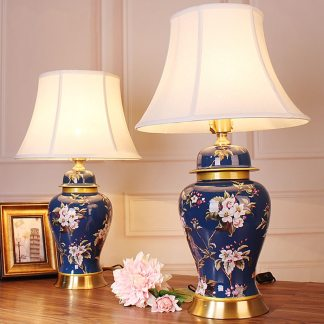 European Style Retro Flower Garden Ceramic blue Desk Lamp Bedroom Bedside Lamp living room study