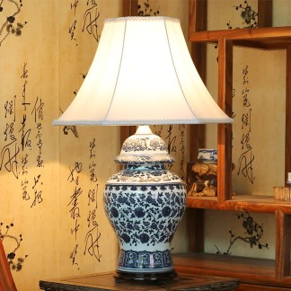 Chinese antique blue and white ceramic table lamp desk lamps